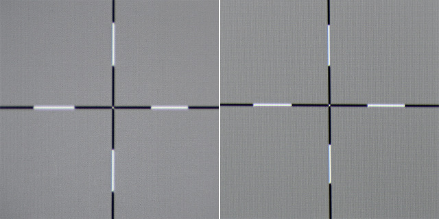 Sony VPL-HW45 - Schärfe Leinwand Links, Mitte