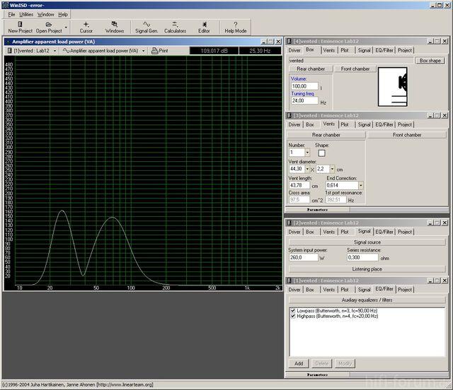 Lab12 BR 100 Liter Netto, Tuning 24 Hz + Filter Per DCX - Verlustleistung