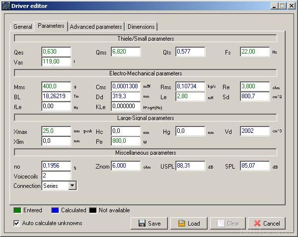SONIC-15MK2 WinISD Eingebemaske