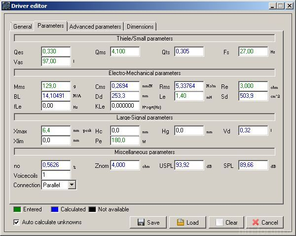 WinISD Parameter AW-3000 Laut Mivoc
