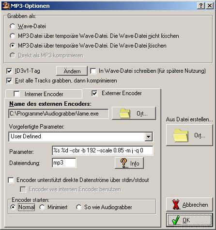 Audiograbber - Ansteuerung der Lame.exe als externem Codec.