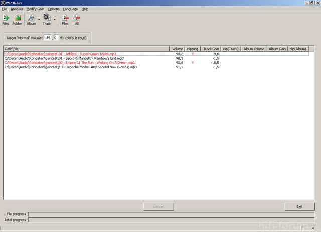 MP3Gain: Trackanalyse Vorab