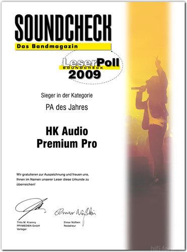 "HK-Premium-Pro  Award, ""Beste PA 2009"""