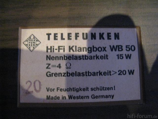 Telefunken WB50 Typenschild
