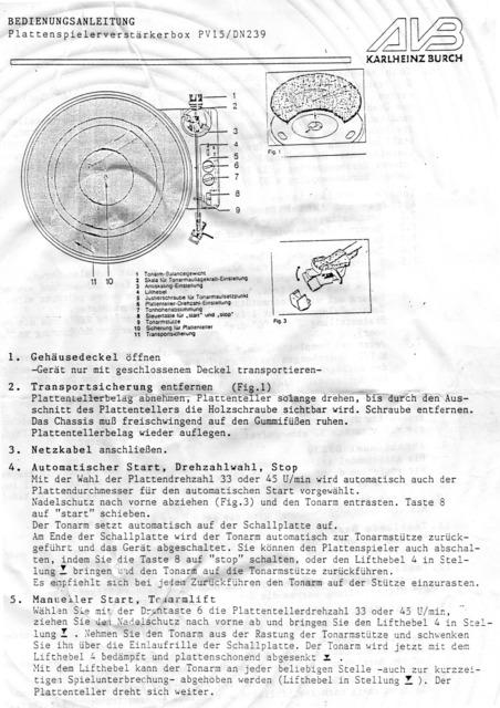 Plattenspielerverstärkerbox PV15 Anleitung Seite1