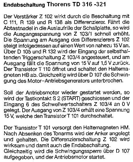 Thorens TD 316-321 Endabschaltung