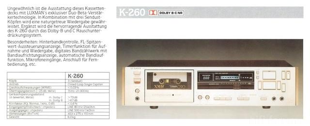 Luxman K 260 Brochure
