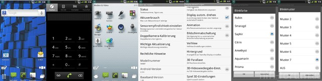 Sharp SH80F Aquos Phone Menü Screenshots