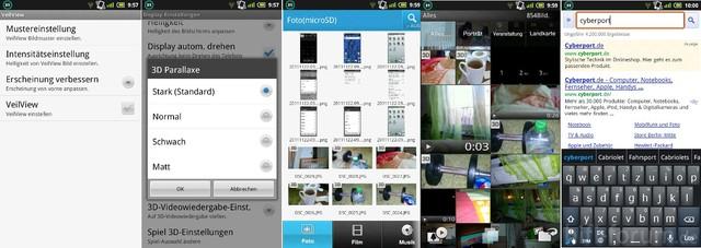 Sharp SH80F Aquos Phone Menü Screenshots