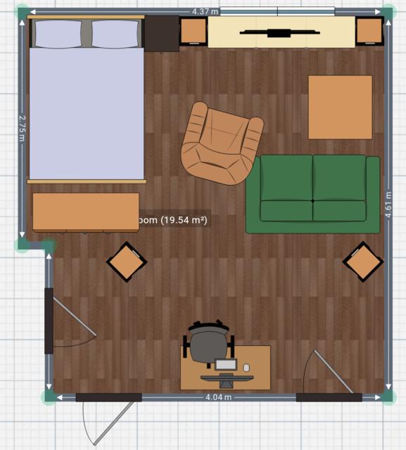Grundriss Des Zimmers. Maße Des Zimmers Sind Korrekt, Maße Der Möbel Nicht.