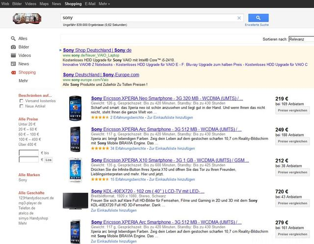"""Suche """"sony"""" Via Google Suche """"Shopping"""""""