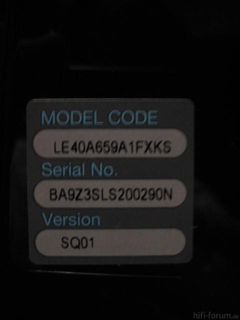 Typenschild Samsung LE40A659 Panel