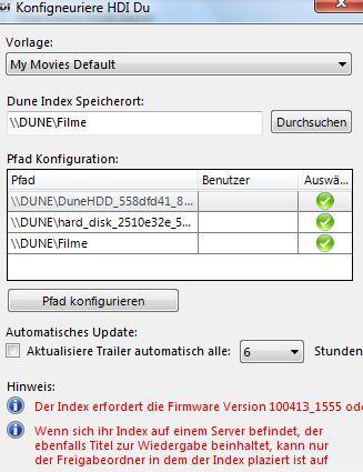 Konfiguration MyMovies Für Dune