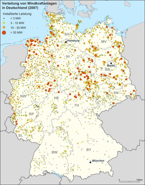 Verteilung Windkraft