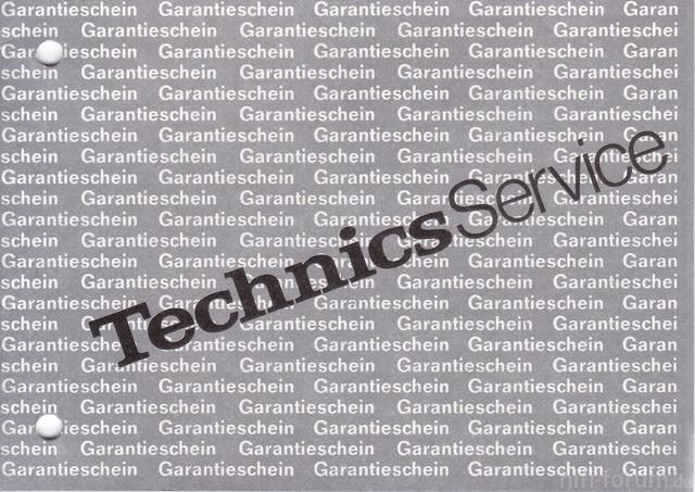 Technics Serviceheft