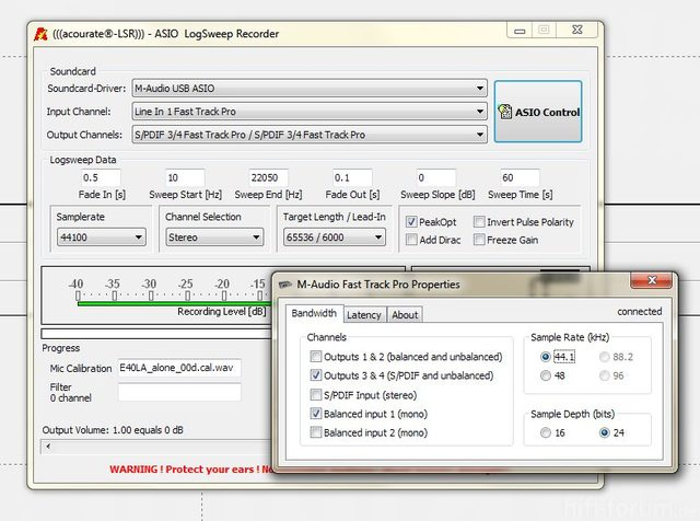 Logsweep Recorder  Und ASIO Settings