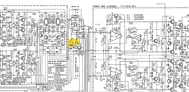 Accuphase E-204 schematic detail pre-out mute relay