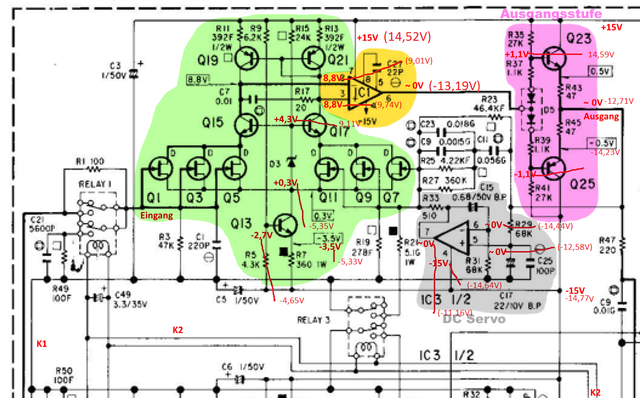 Accuphase E 305 Schematic Detail Phono Pre With Voltages Measured