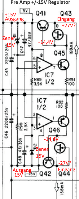 Accuphase E 305 Schematic Detail Pre Amp 15V Regulator