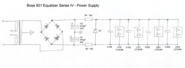 Bose 901 Equalizer IV   Schematic Detail Power Supply