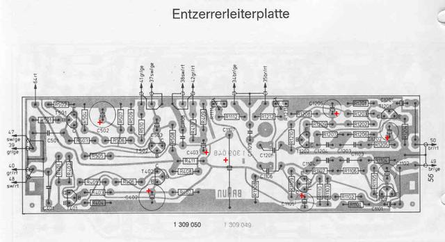 Braun Audio 310 PCB layout phono equalizer Entzerrer Leiterplatte elko electrolytic polarity marked