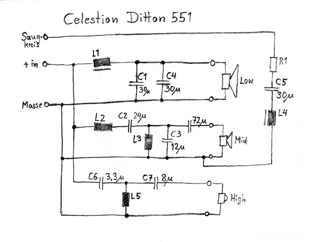 Celestion Ditton 551 Crossover Schematic