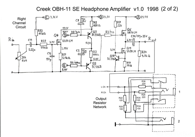 Creek OBH-11SE Schematic Schaltplan PCB V1 1998 Right Channel And  Output Resistors