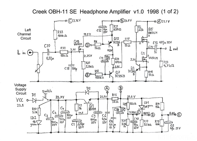 Creek OBH-11SE Schematic Schaltplan PCB V1 1998 Right Channel And  Voltage Supply