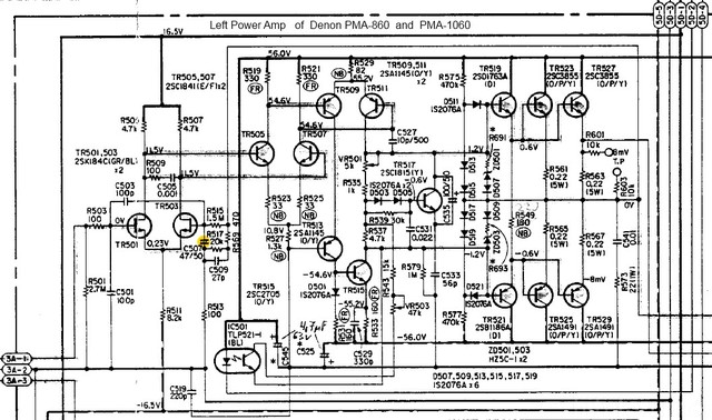 Denon PMA 860 Schematic   Left Power Amp Section