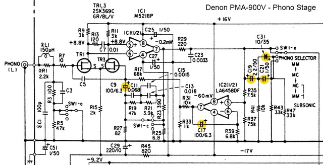 Denon PMA 900V Schematic Detail Phono Section Capacitors Marked