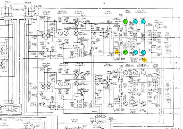 Denon PMA 920 Schematic Detail Power Amp Section  Marked
