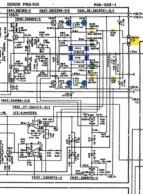 Denon PMA-950 schematic power amp idle current measurement test point emitter resistors Ruhestrom Mi
