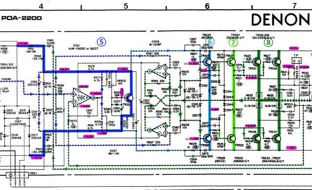 Denon POA-2200 schematic detail left power amp final stages 5-8 marked