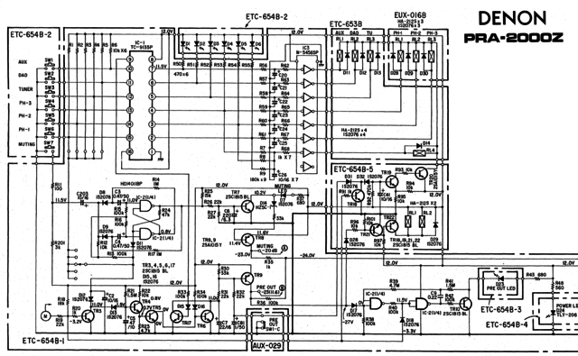 Denon PRA-2000z schematic detail input selection relay drive mute and delay blinking