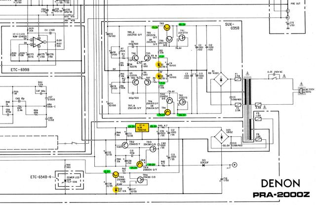 Denon PRA-2000z schematic detail preamp power supply regulator heat sources marked