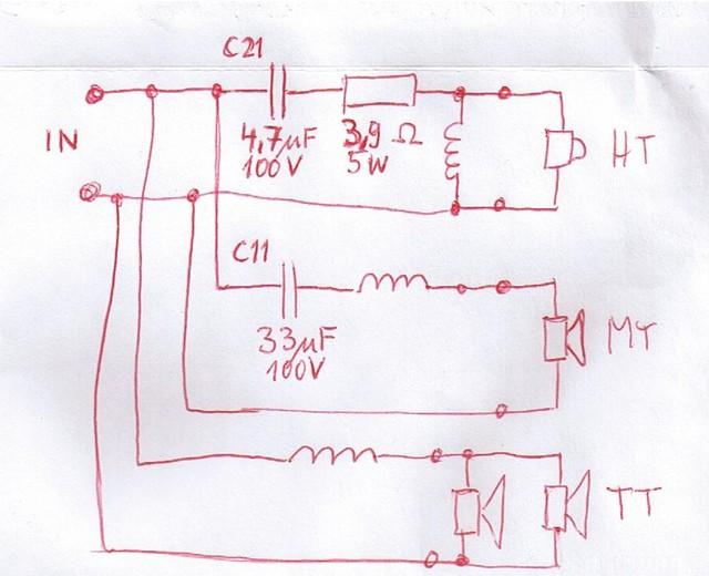Drei-Wege Frequenzweiche Eines Gekauften Lautsprechers