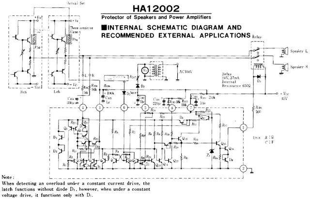 HA12002 Protector loudspeaker protection IC internal circuit schematic