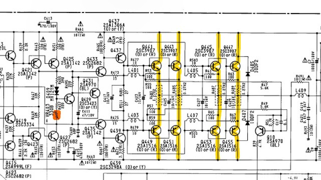 Harman Kardon Citation 22 Schematic Detail Power Amp Last Stages Idle Current  Marked
