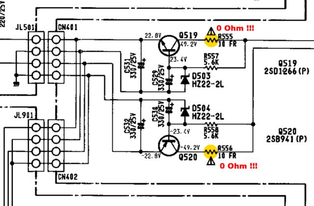 Harman Kardon HK6500 schematic detail +-22V voltage regulator faulty zero Ohm pre-resistor