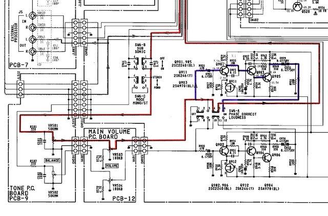 Harman Kardon HK6500 schematic detail loudness circuit balance volume