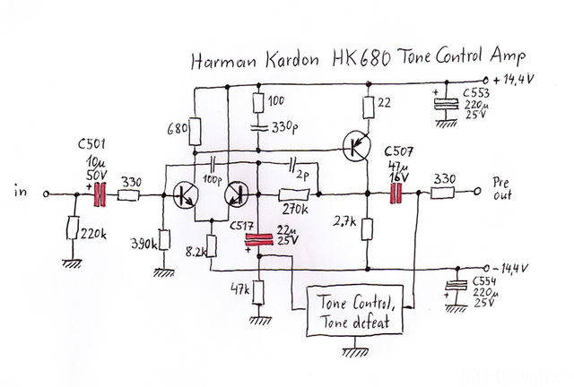 Harman Kardon HK680 - Tone Control Section - Capacitor Modification