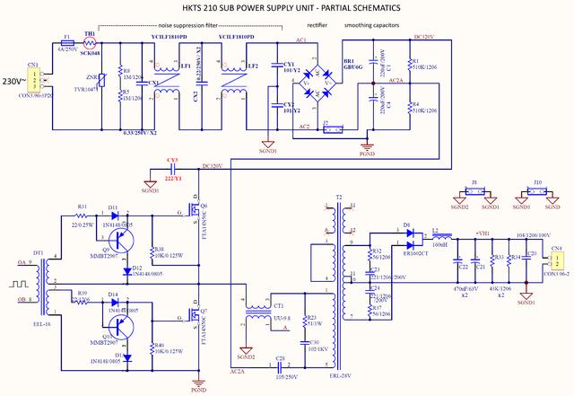 Harman Kardon Sub SB210 Partial Schematic Power Supply