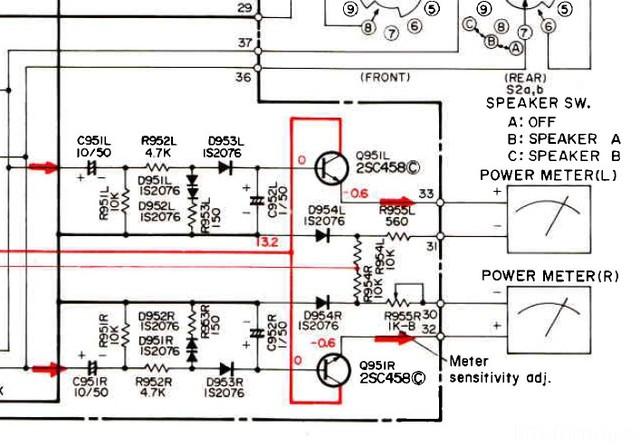 Hitach HMA-6500 schematic detail VU-Meter