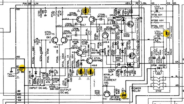 Hitachi HA 7700 Schematic Detail Power Amp With Fuse Resistors Marked