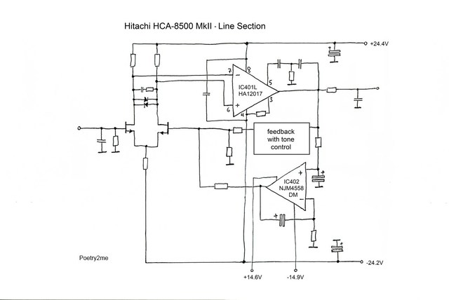 Hitachi HCA 8500MkII Schematic Line Section  Midres