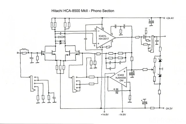 Hitachi HCA 8500MkII Schematic Phono Section  Midres