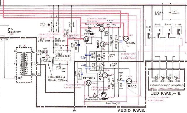 Hitachi HCA-8500MkII Schematic power supply and regulator