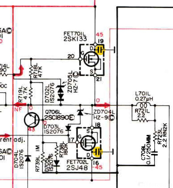 Hitachi HMA 6500 Schematic Detail Shunt Capacitors Directly At MOSFET Transistors