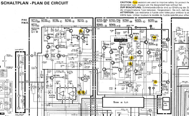 Hitachi HMA 7500 MkII Schematic Detail Power Amp With Fuse Resistors Sicherungswiderstände Schmelzwi