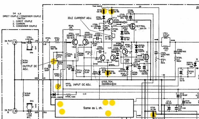 Hitachi HMA-7500 schematic with potential sources of bad DC offset